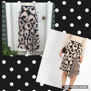 NWT DVF Posey Ruffle Print Drop Yoke Skirt Size 8